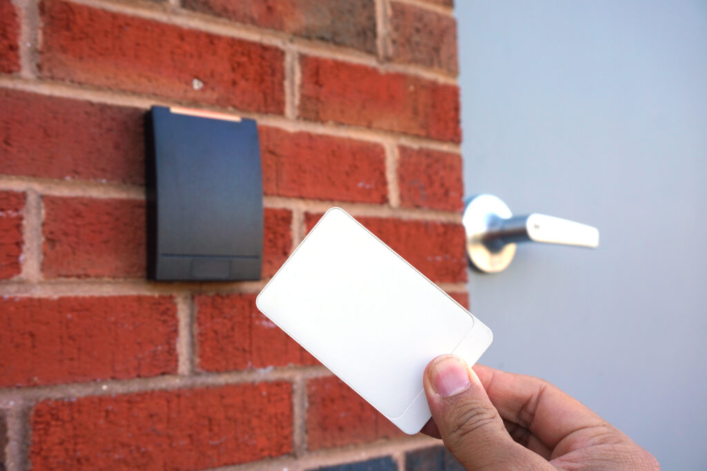 ID swiping a card reader for access into a door