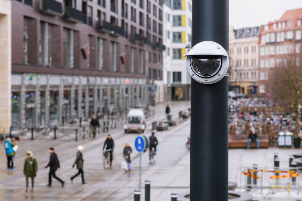 Service Shield by M3T video surveillance product outside in a city